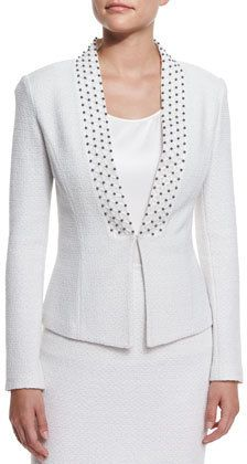 Embroidered Triade Knit Jacket, Cream Multi by St. John Collection at Neiman Marcus. Casual Outfits, Fashion Outfits, Womens Fashion, Suits For Women, Jackets For Women, Knit Pencil Skirt, Mom Dress, Velvet Fashion, Church Outfits