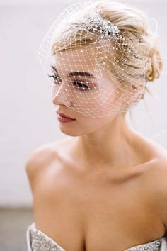 Sara Gabriel Ivis veil | French net blusher with Swarovski crystals