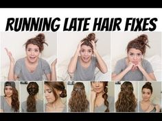 The perfect hair styles when you're running late! Running Late Hair Fixes Running Late Hairstyles, Easy Hairstyles For School, No Heat Hairstyles, Latest Hairstyles, Pretty Hairstyles, Straight Hairstyles, Hairstyles For Nurses, Easy Morning Hairstyles, Quick Easy Hairstyles