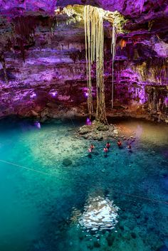 Illuminated Xkeken Cenote in Yucatan Cenotes, Mexico