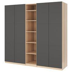 IKEA - PAX Wardrobe white stained oak effect, Meråker dark gray Ikea Wardrobe Hack, Ikea Pax Hack, Ikea Pax Closet, Wardrobe Doors, Bedroom Wardrobe, Ikea Pax Doors, Tall Cabinet Storage, Locker Storage, Armoire Ikea