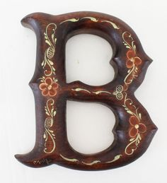 """Vintage Hand Painted Wooden Initial B Wood Signed Letter Grafton WI 6"""" Tole #Handmade"""