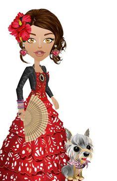 vestido con falda de volados, color rojo, chequeta negra,zapatos de cuero rojos,accesorios acordes