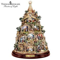 The Nativity Tree Tabletop Centerpiece Presented And Narrated By Thomas Kinkade by The Bradford Exchange Christmas Tree Light Up, Tabletop Christmas Tree, Unique Christmas Decorations, Ceramic Christmas Trees, Christmas Nativity, Winter Decorations, Christmas Scenes, Rustic Christmas, Christmas Stuff