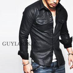 Masculine Edge Design Stretchy Mens Black Faux Leather Western Shirt Guylook