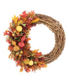 22'' Harvest Gourds Twig Wreath #zulily #zulilyfinds