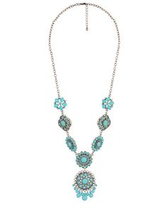 Floral Charm Necklace | FOREVER21 You can NEVER go wrong with turquoise. NEVER!