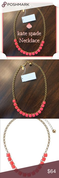 Kate Spade Necklace Kate Spade geranium squared away necklace made of brass, enamel and glass. Lobster clasp closure. Imported. Measurements:  Chain Circumference: 17 in Adjuster Length: 3 in Pendant Height: 12 in Pendant Width: 6 in kate spade Jewelry Necklaces