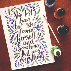 Hidden message from Clean by taylorswift Requested by Anonymous Brush lettering with Indian ink. Coloured inks for illustration. 14.1.2015
