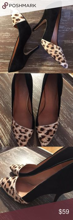 Madewell Calf Hair Animal print Black Heel These gorgeous bold heels need a new home! A mix of calf hair and suede in excellent used condition. Heel is about 4 inches. Madewell Shoes Heels