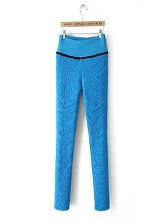 outside lace & inside cotton blend designed pencil pants, blue/red/black available
