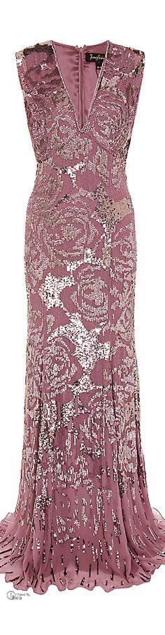 Jenny Packham Pink Embellished Floral Gown