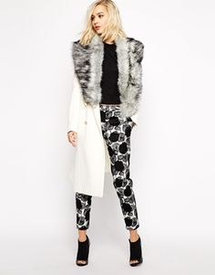 Enlarge River Island Longline Coat With Faux Fur Collar