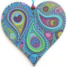 single peacock heart - www.artichicks.co.uk