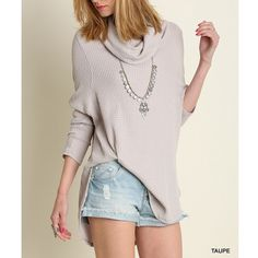 """""""Reflections"""" Cowl Neck Sweater Top Cowl neck long sleeve sweater top. Available in taupe and dusty blue. This listing is for the TAUPE. Brand new. Loose fit. NO TRADES DON'T ASK. Bare Anthology Tops Blouses"""