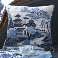 Willow Pattern Blue - Ehrman Tapestry 12 holes per inch The kits include a 100% cotton canvas printed in full colour, all the yarns required (100% pure new wool), a needle and an easy to follow guide to get you underway.