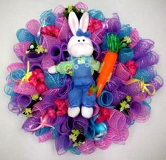Easter Bunny Wreath designed by Karen B., A.C. Moore Erie, PA #wreath #decomesh