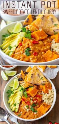 An easy recipe for Instant Pot sweet potato lentil curry. This comfort food is the perfect weeknight dinner for anyone who loves sweet potatoes, curry or lentils. #happyfoodstube #instantpot #sweetpotato #lentil #curry #recipe #pressurecooker #pressurecooking #comfortfood #lunch #dinner #vegetarian via @happyfoodstube