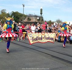 The Festival of Fantasy Parade in the Magic Kingdom celebrates Fantasyland at Disney World.  These costumes are inspired by the Circus Big Top Tent in the Storybook Circus area of the park. The parade travels through Frontierland and is offered most days at 3PM.  Get a list of 45 Great Disney World Freebies at  http://www.buildabettermousetrip.com/disney-freebies/