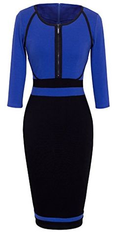 New Trending Formal Dresses: Homeyee® Womens Vintage Colorblock Career Bodycon Dress B235 (M, Blue). Homeyee® Women's Vintage Colorblock Career Bodycon Dress B235 (M, Blue)  Special Offer: $25.99  166 Reviews Size Information(just for reference): Size S:Bust(32inch), Waist(26inch), Hip(33.5inch), Shoulder Wide(14.2inch), Sleeve Length(16.3inch), Length(39inch) Size...