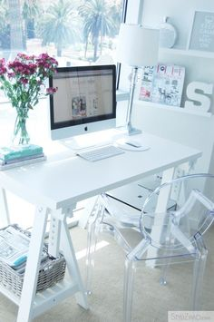 more small space office inspiration [really like this desk & shelving the lucite chair...S in background] basically all of it. lol ;D
