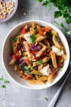 vegan red pepper pasta portion