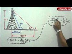 Problema de Trigonometría con Triángulos Rectángulos: Julio Rios explica cómo solucionar un problema trigonométrico donde debe encontrarse la altura de una torre de transmisión de energía eléctrica, conociendo los ángulos de elevación a la parte mas alta de la misma, desde dos puntos distintos sobre el suelo.