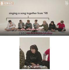 Jungkook's judging his hyungs