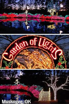 The annual Garden of Lights display at Honor Heights Park in Muskogee, OK draws hundreds of thousands of visitors with millions of sparkling lights that recreate the garden's spectacular spring azalea blooms. The park also offers ice skating and hot cocoa to complete the holiday merriment.