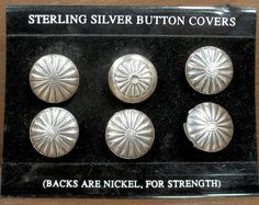 6 STERLING NAVAJO CONCHO button covers - vintage silver Native American covers, stamped designs / decorative Western cowboy shirt blouse