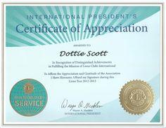 International President's Certificate of Appreciation
