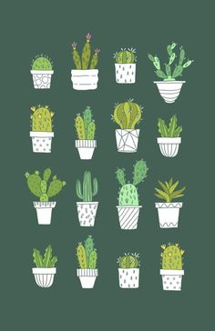 Your friends will be green with envy when they see this cute Cactus print adoring that wall in your house. Doodle Drawing, Cactus Art, Paper Cactus, Plant Illustration, House Illustration, Pattern Illustration, Bird Art, Geometric Shapes, Cute Wallpapers