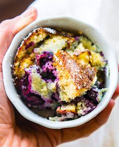 DREAMY Paleo Blueberry Coconut Soufflé Bake! Rich and creamy yet also airy and lightly sweet! This paleo blueberry coconut soufflé bake is a twist on the classic French dish. A Low Carb, Healthy, Fool Proof souffle that's great for a dessert or brunch! A custard like center but still light and flavorful. Feeds many, simple ingredients, and so delicious!