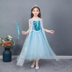 AngelGirl New Snow Queen Elsa Dress Frozen 2 Elegant Princess Dresses Girls Costume Cosplay Halloween Birthday Party Dress - Only Dress_16 / 150_16 / Disney Princess_16