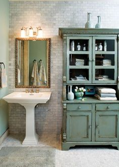 lavabo retro lavabo colonne rectangulaire et buffet vintage bleu