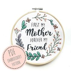 Embroidery Pattern Quote Mother's day gift PDF