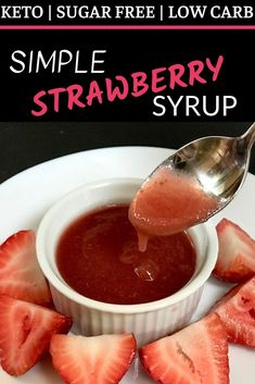 This delicious, keto simple strawberry syrup is ridiculously easy to make! It is sweet, gooey and the perfect topping for waffles, pancakes and ice cream! Sugar Free Strawberry Syrup Recipe, Strawberry Pancake Syrup, Low Carb Desserts, Low Carb Recipes, Keto Syrup Recipe, Keto Sauces, Keto Waffle, Ketogenic Recipes, Low Carb Keto
