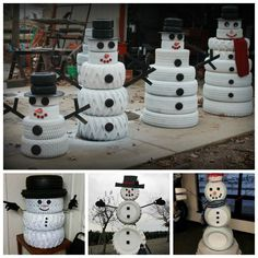 DIY cute tire snowman--> http://wonderfuldiy.com/wonderful-diy-cute-tire-snowman/ #diy #snowman