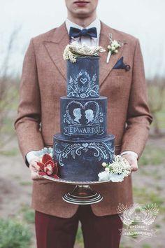 Unique Chalkboard Wedding Cake by Artisan Cake Company