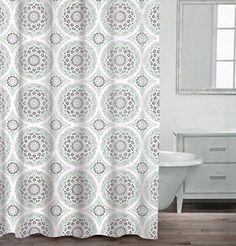 Caro Home 100 Cotton Shower Curtain Ornate Medallion Fabric Round Circle Medallions White