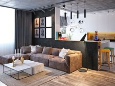 Ceiling Concrete Contemporary Rooms With Concrete Ceiling. Beautiful Bright Apartment Interior With Exotic Touch . Home and Family Living Room Flooring, Home Living Room, Living Room Designs, Best Interior Design, Home Design, Concrete Ceiling, Cool House Designs, Modern Room, Decoration