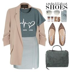 """""""Spring Style: Embellished Shoes"""" by beebeely-look ❤ liked on Polyvore featuring River Island, Jimmy Choo, Ray-Ban, Zero Gravity, Cedar + Stone, preppy, flats, sammydress, embellishedshoes and Spring2017"""