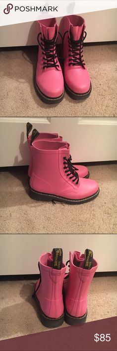 matte pastel pink dr marten boots a little less vibrant in person, worn once, very cute and comfy Dr. Martens Shoes Ankle Boots & Booties