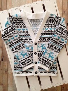 Winter Toddler Preppy Cardigan: Ugly Sweater Print Turquoise and Black (cardigan only) on Etsy, $25.00