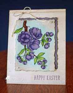 Rita's Creations: Happy Easter Flowers ... purple ... like the deckle edged die cuts with shadow placement of the mat layer ...