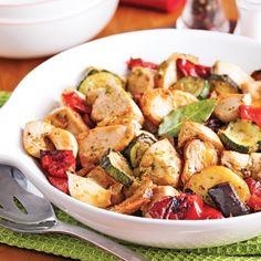 Poulet au pesto et légumes grillés - Soupers de semaine - Recettes 5-15 - Recettes express 5/15 - Pratico Pratique