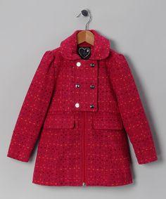 Love, Lilah Raspberry Stitch Novelty Coat - Toddler & Girls $51.37