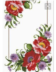Geri Dönüşüm Projeleri Embroidery Patterns Free, Cross Stitch Embroidery, Cross Stitch Flowers, Needlepoint, Needlework, Diy And Crafts, Floral Wreath, Wreaths, Embroidered Towels