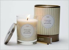 KOBO 100% soy candle - D'Anjou Lychee  Sensuously round and sweet, this blend of exotic fruits is spread beautifully among tender notes of Jasmine and a hint of sandalwood.  80 hour burn time. Each candle comes complete with an extinguishing lid and a custom-designed box of wooden matches.