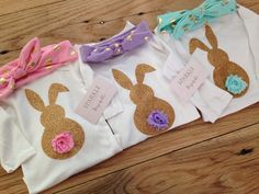 Bunny onesie, first Easter outfit for girls by Bespokedco in pink and gold, purple and gold and aqua and gold